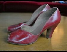 Vintage 1940's Red Leather Heels
