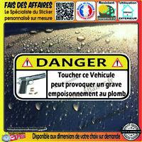 2 Sticker Autocollant humour DANGER NE PAS TOUCHER auto moto arme munition PLOMB