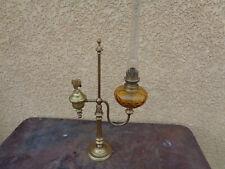 rare double Grande lampe à PETROLE HUILE ancien laiton campagne  vintage
