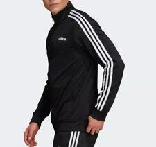 Adidas Jacket Essentials Tricot 3-stripes Black White Sz M Full Zip Long Sleeve