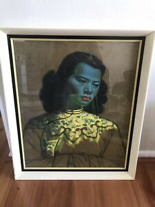 Vintage 1950s Framed Tretchikoff CHINESE GIRL