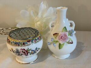 Coalport Bud Vase & Posy Vase ~ Ming Rose ~ 2 Pieces