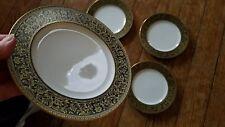Sango Richelieu Bread Plate (3756) set of 4 6 5/8 Black China Gold Flowers