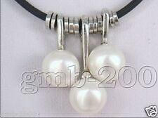 """3PCS Natural White Freshwater Pearl And Leather Pendant Necklace 18"""" Adjustable"""
