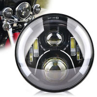 "7"" 50W Motocycle PROJECTEUR Halo Angel Eyes LED HI/LO PHARE PASSING Pour Harley"