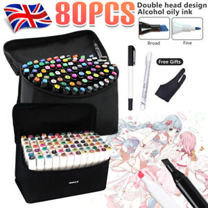 80+3 Markers Pen Set Colors Touch Oily Alcohol Dual Tips Art Fine Broad Copic UK