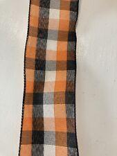 "Halloween Orange Black and White Plaid Wire Edged Ribbon 2-1/2"" x 5 Yards"