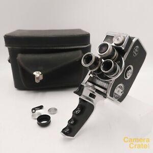 Paillard Bolex D8L Double 8mm Cine Film Camera w/ 3 Lenses - Working #S8-4880