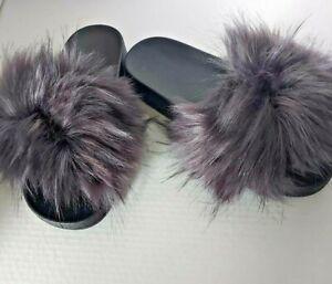 Women's Fur Slides Fuzzy Furry Slippers Sliders Sandals Flat Shoes Flip Flop