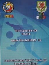 Programm U21 LS 9.9.2008 Romania Rumänien - Wales