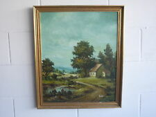 Original Granja árbol lago paisaje pintura al óleo sobre lienzo-Firmado/Enmarcado