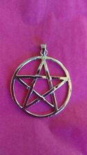 "Large solid sterling silver Pentacle, Pentagram, 1 1/8"" Pagan, Wiccan, Goth,"