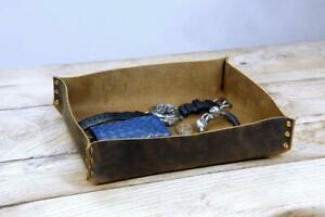Brown distressed mens leather valet tray rustic leather catchall change box