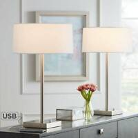 Modern Table Lamps Set of 2 with USB Outlet Metal for Living Room Bedroom Office