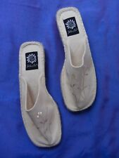 "NEW "" Yellow Box ""Closed Toe Denim Sequin Sandals Beige Size 7/5"