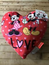 "Mickey And Minnie Mouse Red Valentines Day Plush Heart Disney New 12""x12"""