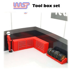 WASP 3D printed Tool box set, pit, garage, Tyre rack, track side, scenery, 1/32