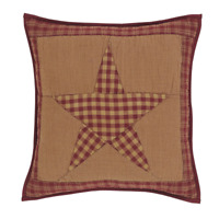 NINEPATCH STAR Quilted PILLOW Burguny/Khaki Farmhouse Primitive Rustic 16x16""