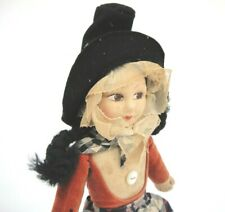 "Norah Wellings Antique Welsh Cloth Doll Black Braids Pointed Hat 11"" Foot Label"