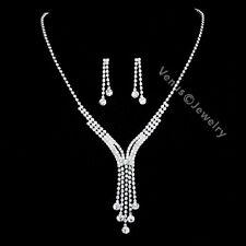Bridal Wedding Jewelry Prom Rhinestone Crystal Necklace Earrings Set N287