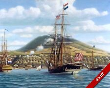 FIRST NAVAL SALUTE AMERICAN HISTORY GRAND UNION PAINTING ART REAL CANVAS PRINT