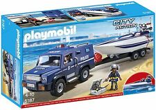 PLAYMOBIL 5187 City Action Police Truck With Speedboat 792363051873