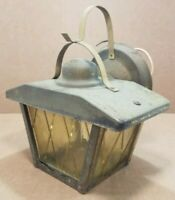 Vintage Brass Lantern Sconce Light Fixture Mission Cottage Yellow Glass MCM