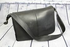 Vintage COACH Large Black Leather Laptop Messenger Briefcase Bag Cross Body RARE