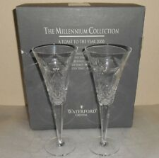 Waterford Crystal Millennium Peace Flute Glass Set Of 2 Signed