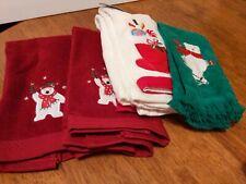Christmas bathroom finger tip towels bears stocking red green white