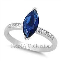 FAMA 925 Sterling Silver Dress Ring Tanzanite Flower w// Side CZ Stones Size 5-7