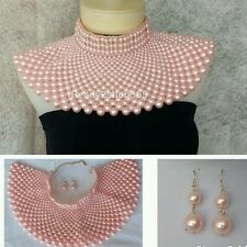 Pink Beaded Bib Egyptian Massive Pearl Necklace Huge Statement Collar Earrings