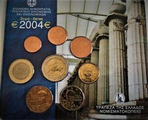 RARE COFFRET BU DE 1CENT A 2 €URO 8 PIECES OFFICIEL GRECE  2004* UNC-Neuve