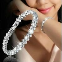 Fashion 925 Silver Plated Crystal Chain Bracelet Women Charm Cuff Bangle Jewelry