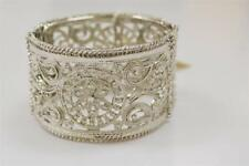 Amrita Singh Bangle Cuff Bracelet Filigree Paisley Floral Silver New NWT $84