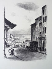 BERTHOLD MAN grvure lithographie scene de vie paysage carriole attelage