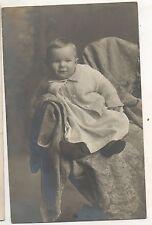 RPPC Cute Baby posing on Chair, like Adult! Vintage Real Photo Postcard