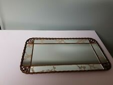 Vintage Vanity Mirror Brass/Gold Color Metal Frame Rectangle Hang or lay flat