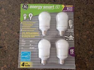 GE Energy Smart 60 CFL 15W Spiral Inside 825 Lumens A19 4 Pack Fluorescant Bulbs