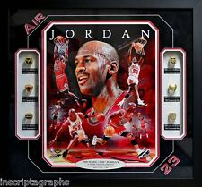 MICHAEL JORDAN 6 RING NBA CHAMPIONSHIP COLLAGE CHICAGO BULLS FRAMED AIR PIPPEN