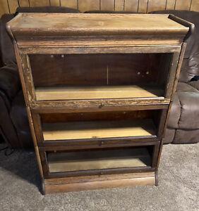 Gunn Oak Barrister Lawyer Bookcase 3 Stack Bookshelf Antique
