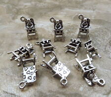 Set of 10 Pewter Baby in High Chair Charms - 5306