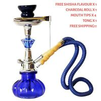 Blue Hookah Metal Water Pipe with Free Shisha Flavor, Charcoal, Mouth filters
