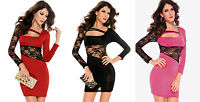 Sexy Black/Red/Pink Long Sleeve Lace Detail Party/Clubbing Mini Dress Size 8/10
