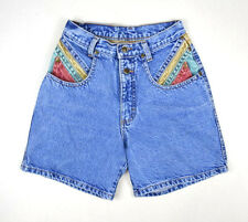 "Vtg 90s Color Block Denim Retro Grunge Jean High Waist Shorts Womens 26"" Waist"