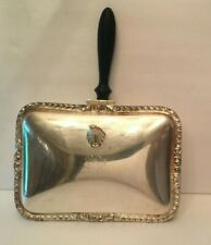 Antique Silverplate Square Crumb Catcher Silent Butler Ash Tray Wood Handle