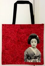 Beautiful Red Rose Cotton Shopping Bag With Geisha Picture