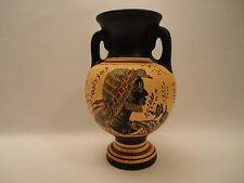 God Dionysus and Flute Player Auletris  Ancient Greek Art Pottery Vase Amphora