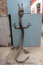 """38""""Huge Luckly Chinese Copper Bronze sculpture animal FOO dragon standing Statue"""