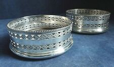 Superb PAIR ~ SILVER Plate & YEW Wood ~ GEORGIAN Style ~ Bottle COASTERS ~ c1875